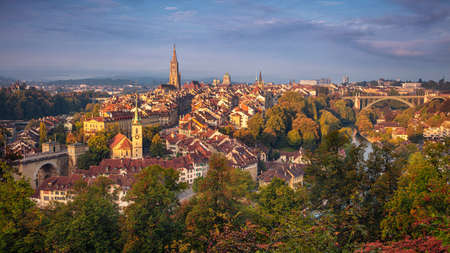 City of Bern. Cityscape image of the capital city of Bern, Switzerland during beautiful autumn sunrise.