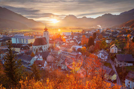 Liezen, Austria. Cityscape image of Liezen, Austria at beautiful autumn sunset. Banco de Imagens