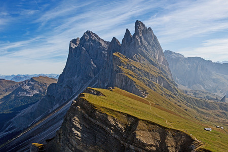 View from autumnal Seceda to the Fermi Daisies at the Puez-Geisler Nature Park in the South Tyrolean Dolomites