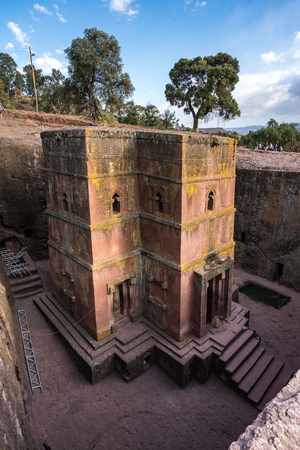 Famous Rock-Hewn Church of Saint George - Bete Giyorgis in Lalibela, Ethiopia. 免版税图像