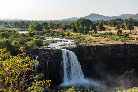 Landscape view near the Blue Nile falls, Tis-Isat Falls, meaning great smoke in Amharic in Amara region of Ethiopia, Eastern Africa Stockfoto