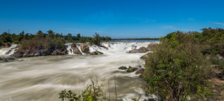 Khone Phapheng Falls at Champasak Province on the Mekong River in southern Laos. The waterfall have rapids in the rainy season.Seems to be dangerous.