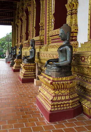 Visiting Haw Phra Kaew, also written as Ho Prakeo, a former temple in Vientiane, Laos Stock Photo