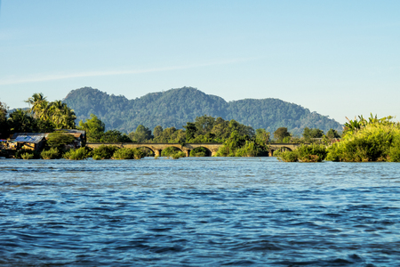 4000 Islands zone in Nakasong over the Mekong river between Don Det and Don Khone near Cambodian border in Laos