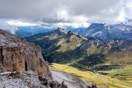 The Sass Pordoi is a relief of the Dolomites, in the Sella group, Italy Stock fotó