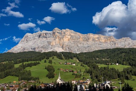 Sasso di Santa Croce in eastern Dolomites, Badia valley, South Tyrol, Italy Stock Photo - 121041200