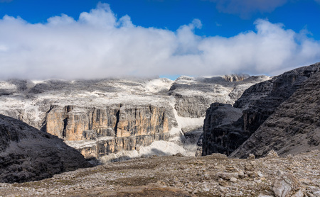 The Sass Pordoi is a relief of the Dolomites, in the Sella group, Italy Stock Photo