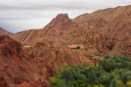 Dades Gorge is a gorge of Dades River in Atlas Mountains in Morocco. Standard-Bild - 121043452