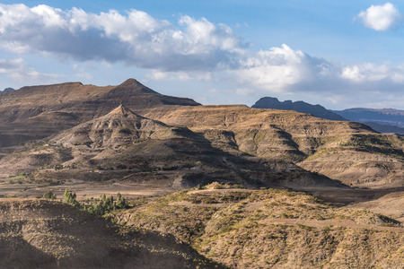 Landscape between Gheralta and Lalibela in Tigray, Ethiopia, Africa