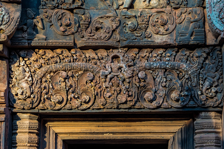 Banteay Srei is a Hindu temple dedicated to Shiva in Angkor, Cambodia Stok Fotoğraf - 121047414