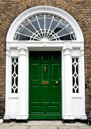 colourful Georgian door in Dublin city, Merrion Square, Ireland in Europe Stock Photo