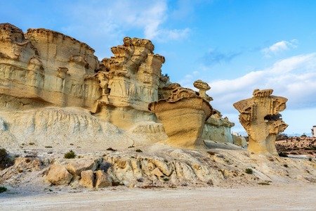 View of the Erosions of Bolnuevo, Las Gredas, Mazarron. Murcia, Spain