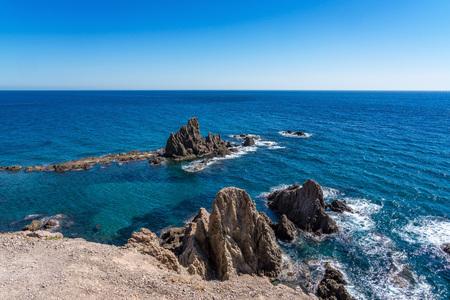 Rocky Coast of Cabo de Gata Nijar Park, Almeria, Spain Stock Photo