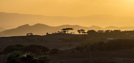 sunset in the highlands of Lalibela, Ethiopia Imagens - 122708244