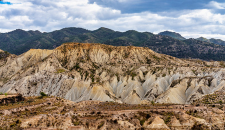 The Badlands of Abanilla and Mahoya near Murcia in Spain is an area where a lunar landscape has been formed by the erosive force of water over the millennia. 版權商用圖片