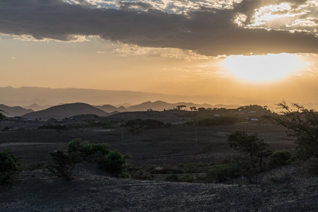 sunset in the highlands of Lalibela, Ethiopia