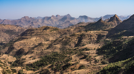 Landscape view of the Simien Mountains National Park in Northern Ethiopia on the way to Axum, Africa.