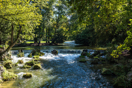water of the isar spilling over rocks of green moss and surrounded with tall green trees, in The English Garden, Munich, Germany.