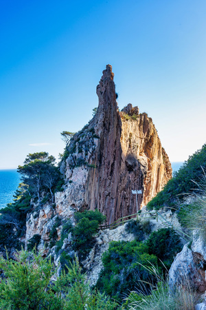 Beautiful rocky coastline in Moraira, Costa Blanca, Spain Imagens