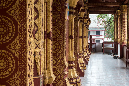 Wat Manorom - an ancient Buddhist temple in Luang Prabang Laos.