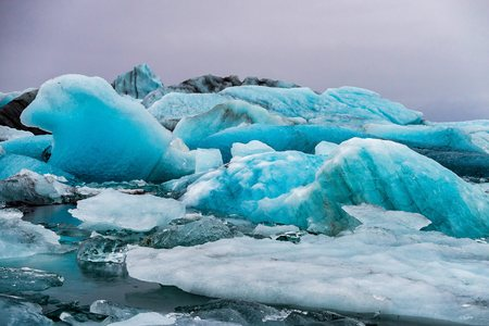Icebergs in the glacier lagoon of Joekulsarlon in Iceland, Europe.