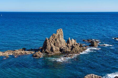 Rocky Coast of Cabo de Gata Nijar Park, Almeria, Spain. Andalusias largest protected area.