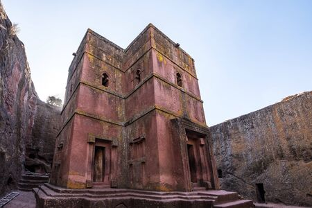 Famous Rock-Hewn Church of Saint George - Bete Giyorgis in Lalibela, Ethiopia. Stock Photo