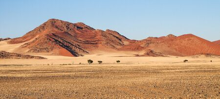 Amazing View of the dunes Sossusvlei. Namib Naukluft National Park. Sand dunes in the pan of Sossusvlei. Namibia. Africa. Banco de Imagens