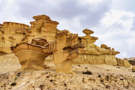 View of the rock formations Erosions of Bolnuevo, Las Gredas, Mazarron. Murcia, Spain. Wind and sun can be great sculpture artists. Reklamní fotografie