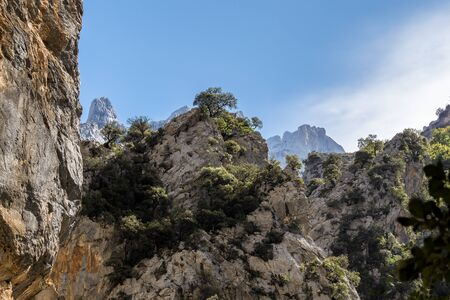the Cares trail, garganta del cares, in the Picos de Europa Mountains, Spain in europe 版權商用圖片
