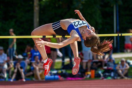 Regensburg, Germany - June 16, 2018: bavarian athletics championship high jump event Editorial
