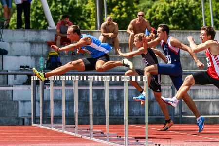 Regensburg, Germany - June 16, 2018: bavarian athletics championship hurdle race event