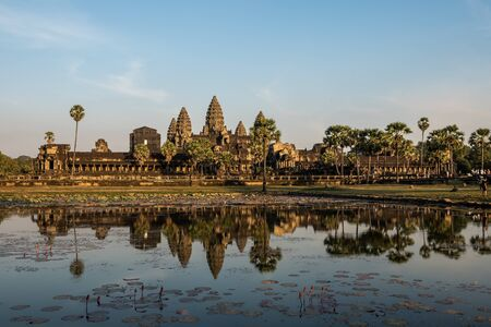 Angkor Wat is a temple complex in Cambodia and the largest religious monument in the world. Siem Reap, Cambodia.