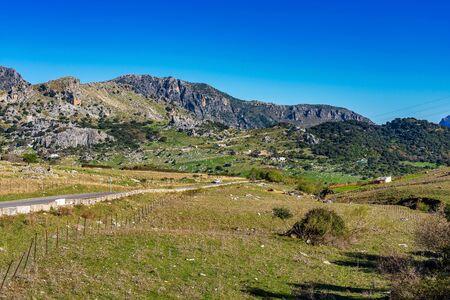 Landscape of Sierra de Grazalema natural park, Cadiz province, Malaga, Andalusia, Spain 版權商用圖片