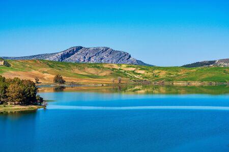 Beautiful view of the lake Embalse del Guadalhorce, Ardales Reservoir in province Malaga, Andalusia, Spain