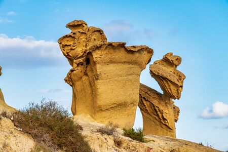View of the rock formations Erosions of Bolnuevo, Las Gredas, Mazarron. Murcia, Spain. Wind and sun can be great sculpture artists. 版權商用圖片