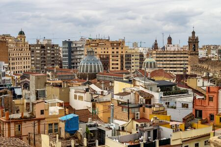 View on squares, buildings, streets of Valencia on the east coast of Spain, is the capital of the autonomous community of Valencia and the third-largest city in Spain.