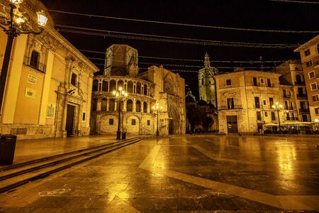Square of the Virgin Saint Mary with Cathedral, Valencia, Spain.