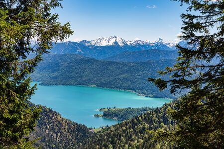 View of the lake Walchensee in the Alps of Bavaria, Germany