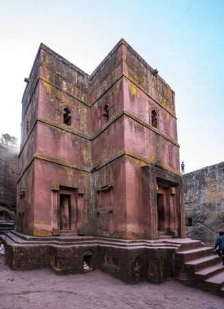 Famous Rock-Hewn Church of Saint George - Bete Giyorgis in Lalibela, Ethiopia. 版權商用圖片