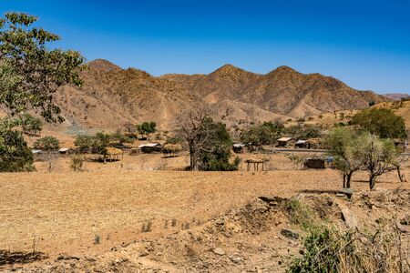 A little villagein the Simien Mountains National Park in Northern Ethiopia on the way to Axum, Africa.