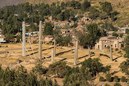 The Northern Stelae Park of Aksum, famous obelisks in Axum, Ethiopia Stock Photo