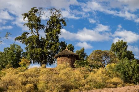 Famous Rock-Hewn Church of Saint George - Bete Giyorgis in Lalibela, Ethiopia. Stock Photo