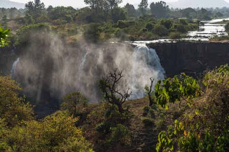 Landscape view near the Blue Nile falls, Tis-Isat Falls, meaning great smoke in Amharic in Amara region of Ethiopia, Eastern Africa Banco de Imagens - 128591248