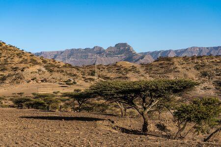landscape in the highlands of Lalibela, Ethiopia, Africa