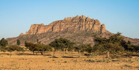 Landscape in Gheralta near Abraha Asbaha in Tigray, Northern Ethiopia, Africa
