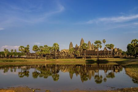 Angkor Wat is a temple complex in Siem Reap, Cambodia. Stock Photo