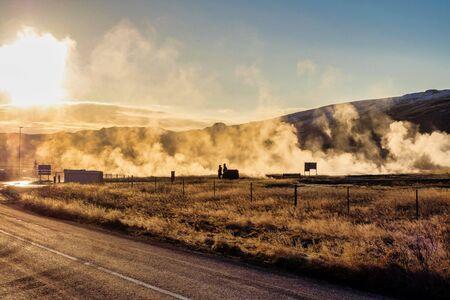 View of Strokkur geyser in Iceland in Northern Europe. Banco de Imagens