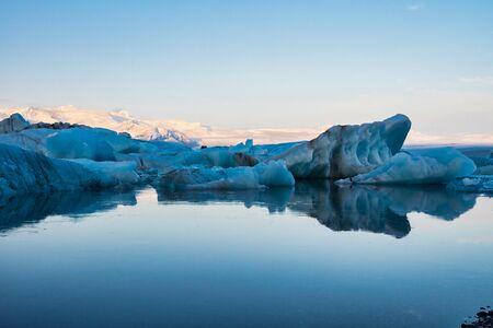 Icebergs in the glacier lagoon of Joekulsarlon in Iceland, Northern Europe.