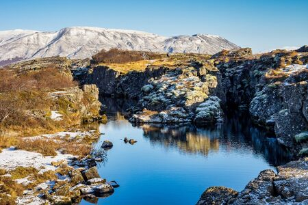 Landscape in the Thingvellir National Park in Iceland, Europe
